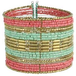 Gold, Mint & Pink Wide Cuff Bracelet