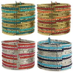 Metal Alternating Stripes Bead Bracelet