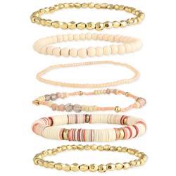 Creamsicle Gold & Peach Bead Stretch Bracelet Set of 6