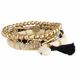 You're All Set Gold Beaded Bracelet Set of 5