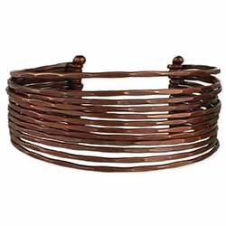 Bronze Hammered Lines Cuff Bracelet
