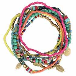 Boho Delight Pastel Bead Bracelet Set