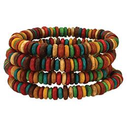 Multi Wood Heishi Bracelet Set