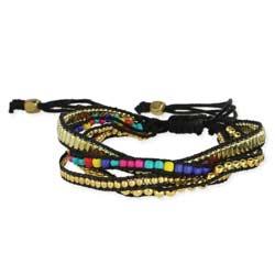Metal & Multi Bead Pull Bracelet