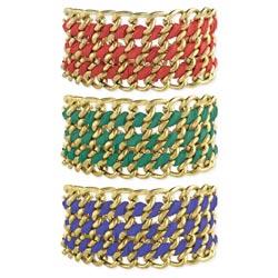 Wide Gold Chain Ribbon Wrap Bracelet