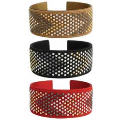 Mixed Metal Dots Fabric Cuff Bracelet