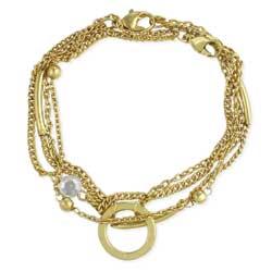 Chain Gang Gold & Crystal Bracelet Set