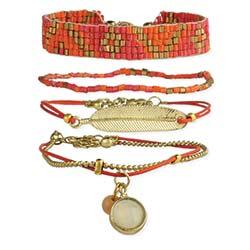 Gold Feather & Cord Bracelet Set