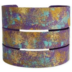 Purple & Teal Splatter Paint Cuff Bracelet