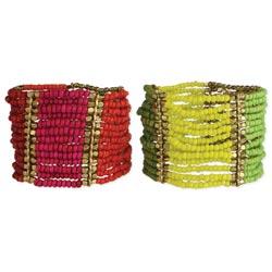Wide Bead Color Block Stretch Bracelet