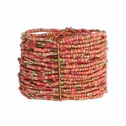 Pastel & Gold Bead Wide Cuff Bracelet