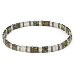 Green Marble & Clear Tila Bead Stretch Bracelet