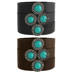 Leather & Turquoise Stone Snap Cuff
