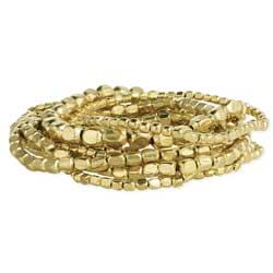 Set of 10 Gold Bead Stretch Bracelets