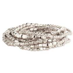 Set of 10 Silver Bead Stretch Bracelets