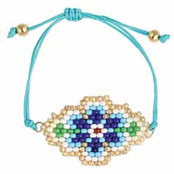 Cottage Garden Bead Flower Pull Bracelet