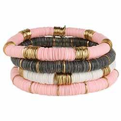 Modern Layers Pink & Grey Heishi Bracelet Set