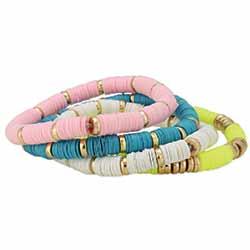 Spring Blooms Multi Color Heishi Bracelet Set