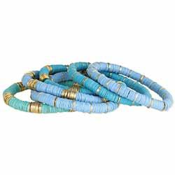Blue Skies Heishi Bead Bracelet Set