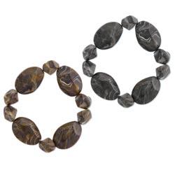 Facet Marbled Bead Elastic Bracelet