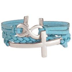 Suede Infinity & Silver Cross Bracelet