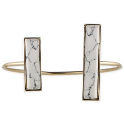 White Bar Ends Gold Cuff Bracelet
