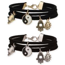 Black Suede & Charms Bracelet