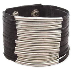 Black Leather & Silver Metal Bar Snap Cuff Bracelet