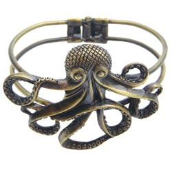 Antique Gold Octopus Hinge Cuff