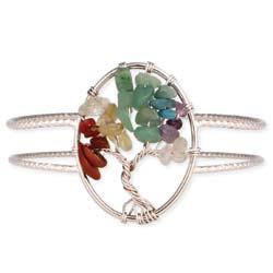 Stone Chip Wire Tree Silver Cuff Bracelet