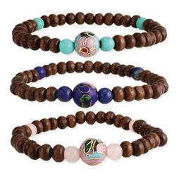 Wood, Stone & Cloisonne Bead Bracelet