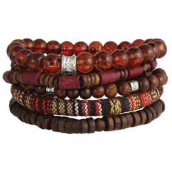Brown Wood & Bead Men's Bracelet Set