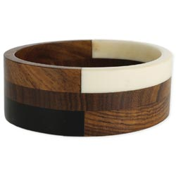 Black & White & Brown Wood Segmented Bangle Bracelet