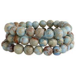Blue Jasper Genuine Stone Stretch Bracelet Set
