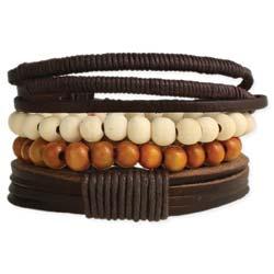 Rustic Leather & Wood Men's Bracelet
