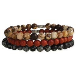 Earthy Stone Bead Stretch Bracelet Set