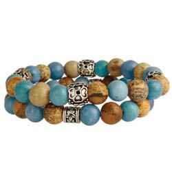 Sand & Sky Blue & Brown Jasper Bead Stretch Bracelet Set