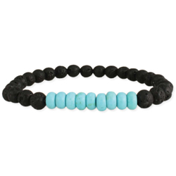 Turquoise & Lava Bead Essential Oil Diffuser Stretch Bracelet