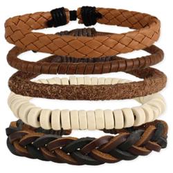 Man About Town Leather Men's Bracelet Set