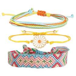 Fresh as a Daisy Woven & Flower Pull Bracelet Set of 3