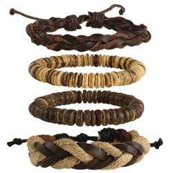 Driftwood Beach Wood & Cord Men's Bracelet Set of 4