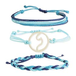 Ultimate Wave Blue Cord & Wave Charm Bracelet Set of 3