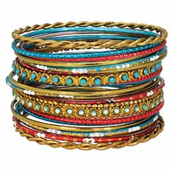 Set of 22 Gold, Coral & Turquoise Bangles