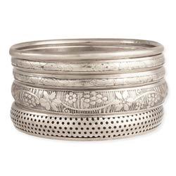 Victorian Vintage Silver Bangle Set of 5