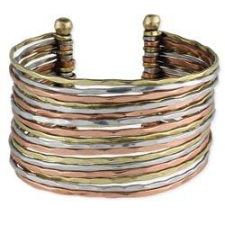 Mixed Metal Hammered Bunch Cuff Bracelet