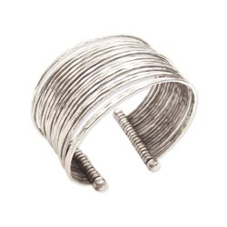 Silver Metal Thin Hammered Bunch Cuff Bracelet