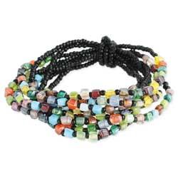 Square Multi Bead & Black Bead Stretch Bracelet