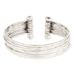 Hammered Silver 7 Line Cuff Bracelet