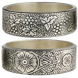 Silver Engraved Bangle Bracelet