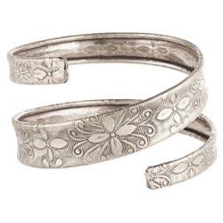 Silver Embossed Spiral Wrap Bracelet